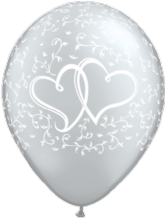 Wedding Balloons Entwined Hrts (Silver 6pc) - 11 Inch Balloons